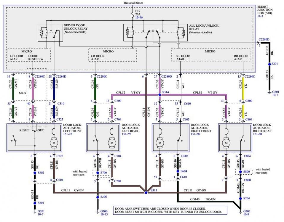 2008 MKX Workshop Manual - Power Locks Wiring Diagram.jpg